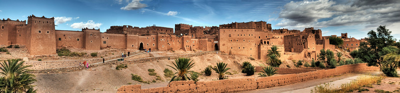 view of the Kasbah at Ouarzazate were for centuries people from the Atlas, Draa and Dades Valleys converged to do business.  <br /> <br /> Ouarzazate, Morocco, 2010
