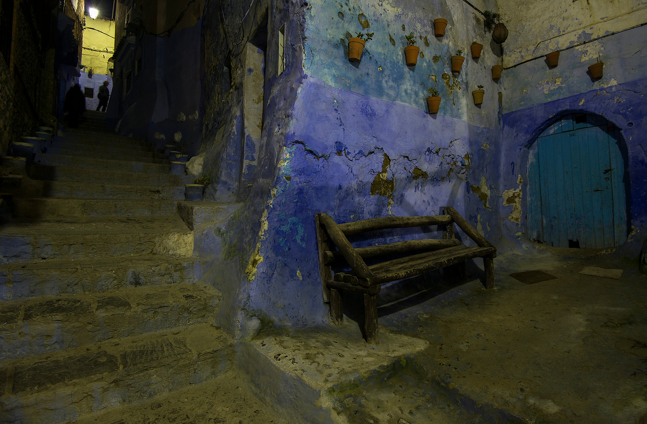 The old medina at night.<br /> <br /> Chefchaouen, Morocco, 2018.