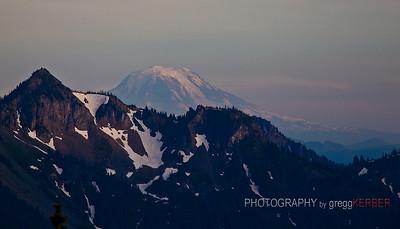 Magic hour light on Mt. Adams taken from Mt. Rainier, WA