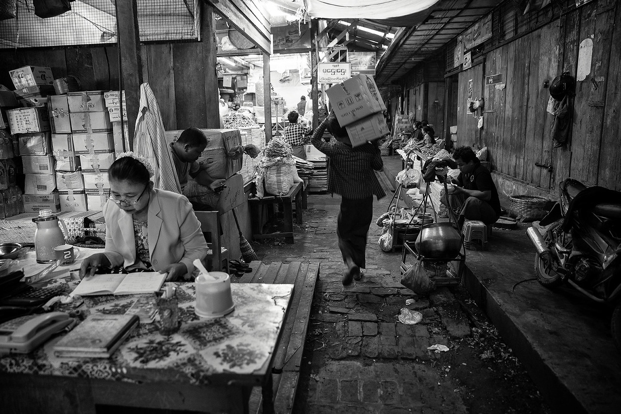 Scene inside the food market in Mandalay.<br /> <br /> Myanmar 2017.