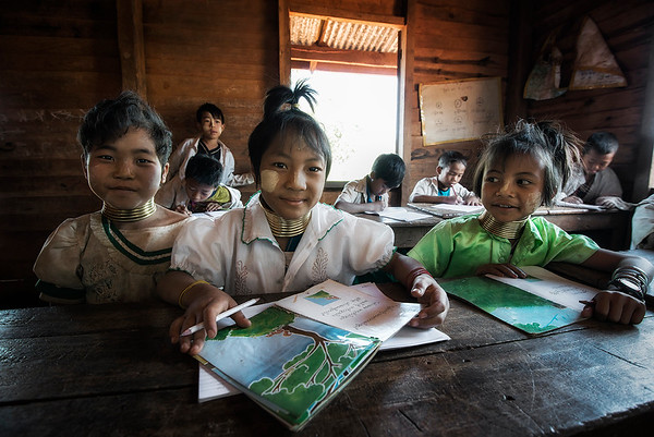 A classroom in a small Kyan village.  Kayah State, Myanmar, 2017.