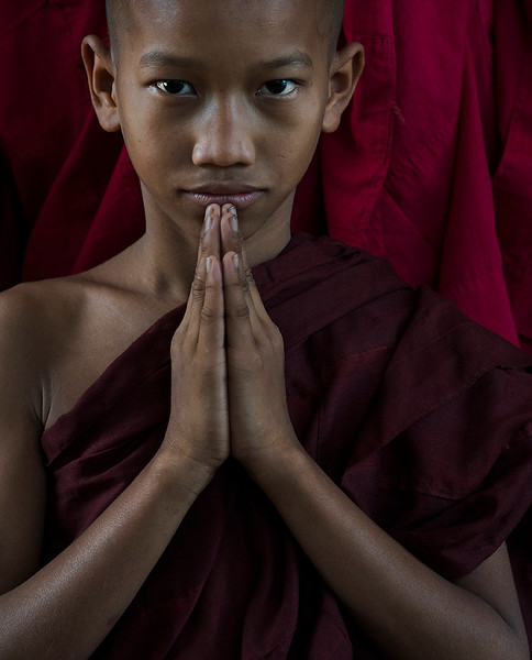 Portrait of a young Monk.<br /> Myanmar, 2017.