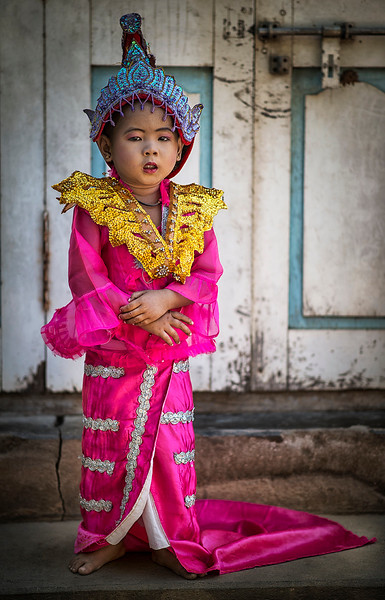 The novice hood initiation is a very important ceremony and a big event as a family. A lot of effort is put into the dress and make up turning the kids into real stars of the show.<br /> <br /> Myanmar 2017