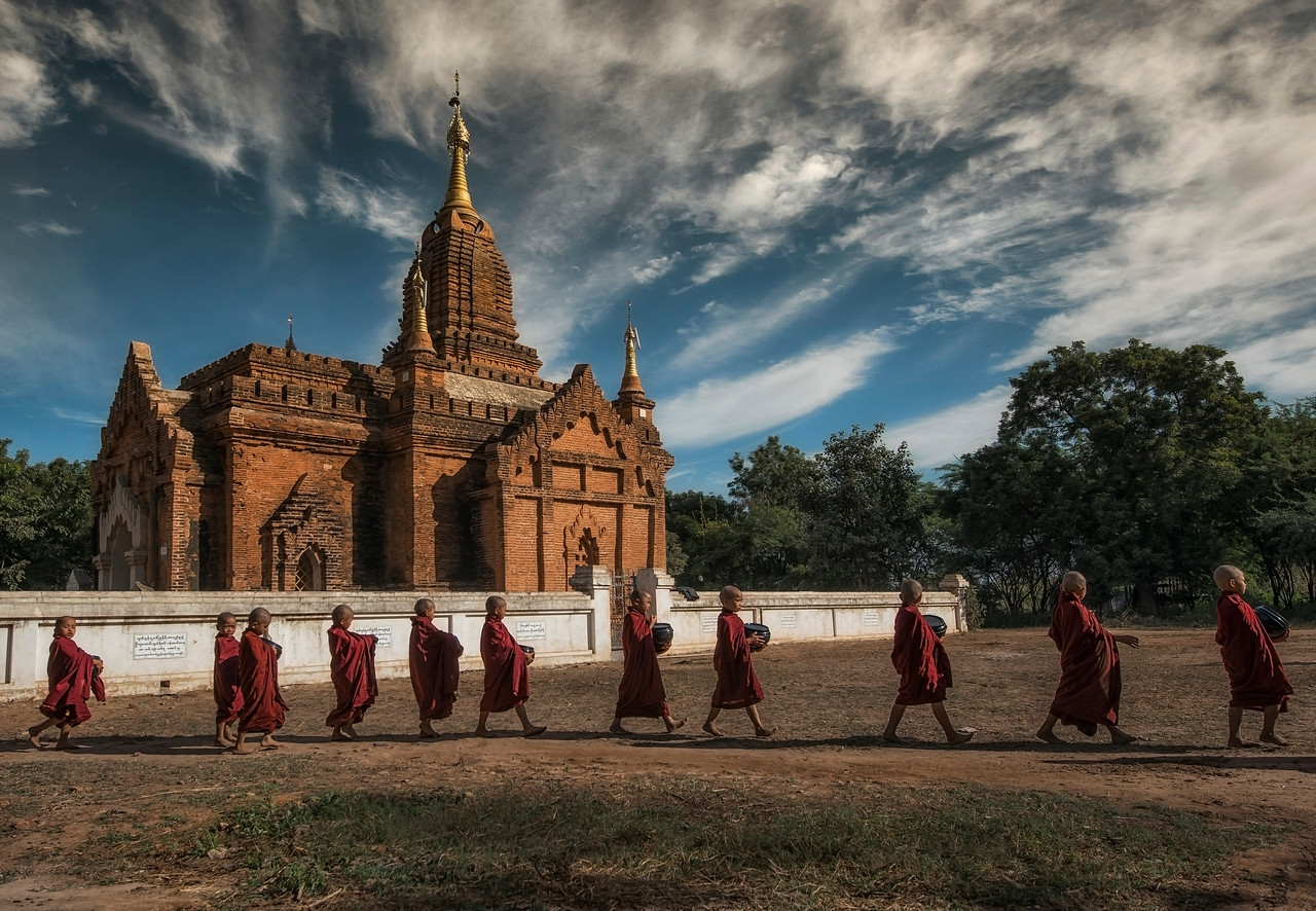Bagan, located on the banks of the Ayeyarwady (Irrawaddy) River, is home to the largest and densest concentration of Buddhist temples, pagodas, stupas and ruins in the world with many dating from the 11th and 12th centuries. The shape and construction of each building is highly significant in Buddhism with each component part taking on spiritual meaning.<br /> <br /> Bagan, Myanmar, 2017
