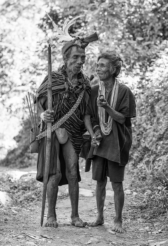 Husband and wife, approximately 70 years old, from the village of Kyardo wearing traditional clothing.
