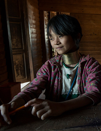 Young Kayan student in a local school.  Kayah State, Myanmar. 2017