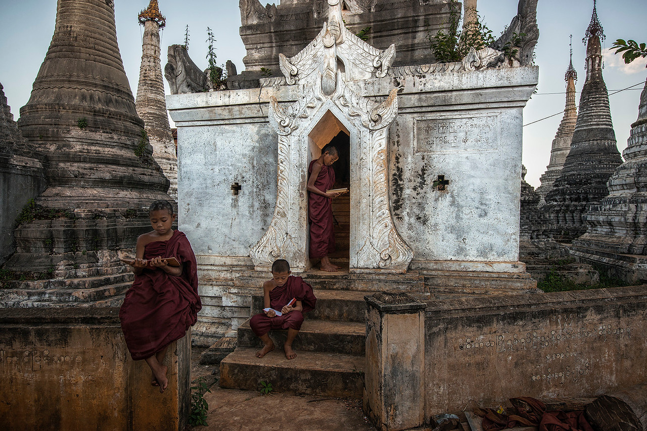 Young monks studying around a local temple.<br /> <br /> Pindaya, Myanmar, 2017