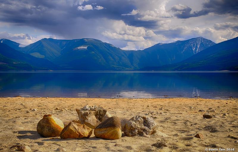 Not naturally arranged rocks - beach front Upper Arrow Lake.