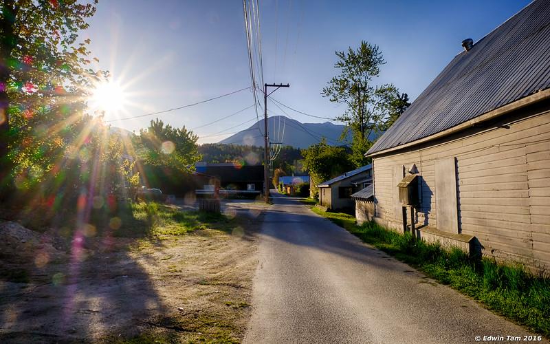 Sunrise through an alley.