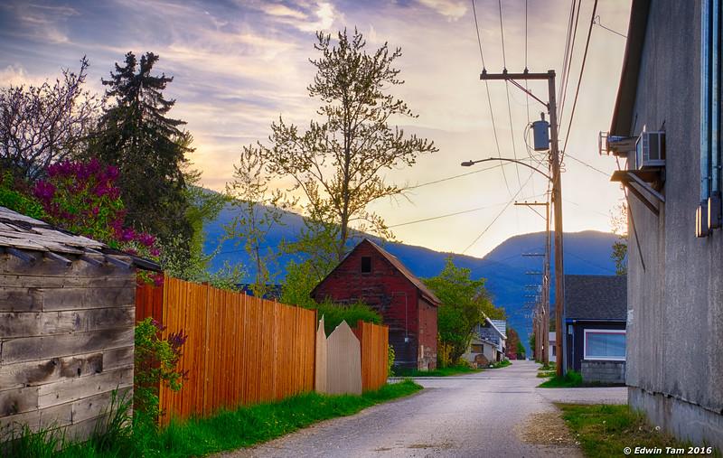 Back alley at dusk.