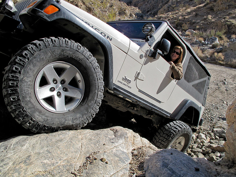 "This would be pretty steep in a shorter wheelbase rig like a TJ!  As Marni cruises up it, Chris is vocally amazed.  Marni calmly responds, ""Oh, I've gone up steeper stuff before, this is easy.""  I love this woman."