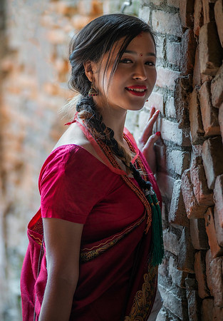 A local young woman dressed in the traditional Newari dress.   Bhaktapur, Nepal, 2019
