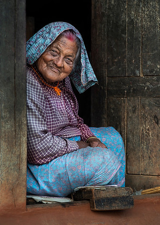 Portrait of an elderly lady somewhere in the low central hills.   Nepal, 2019.