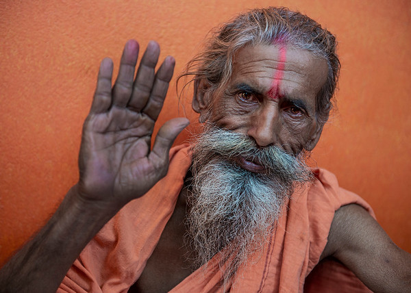 Portrait of a Sadhu and keeper of a holy shrine in one of the holy lakes in the city of  Janakpur.  Janakpur, Nepal, 2019