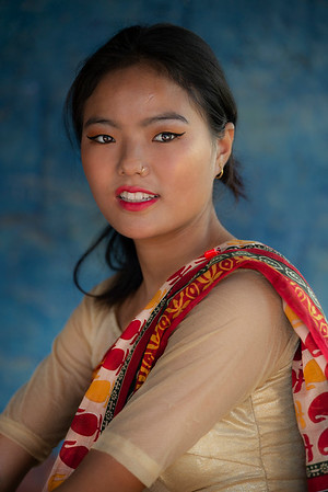 Newari woman wearing a traditional dress.   Nepal 2019