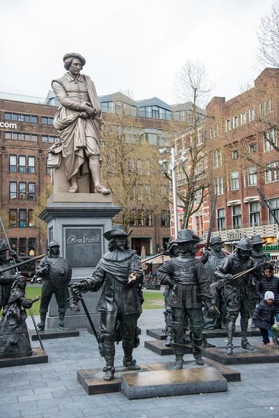 Rembrandt monument on Rembrandtplein. Rembrandtplein (Rembrandt Square) is a major square in central Amsterdam, the Netherlands, named after the famous painter Rembrandt van Rijn who owned a house nearby from 1639 to 1656. The statue of Rembrandt was made in 1852 by sculptor Louis Royer and is of cast iron. It was cast in one piece and it is Amsterdam's oldest surviving statue in a public space.