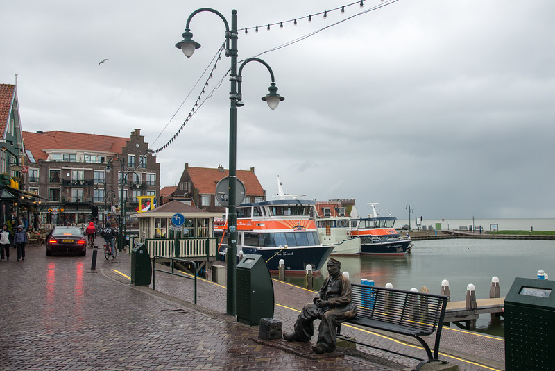 Walk way at the water front at Volendam, Netherlands near Amsterdam. Volendam Marina where you board the Volendam-Marken Express.