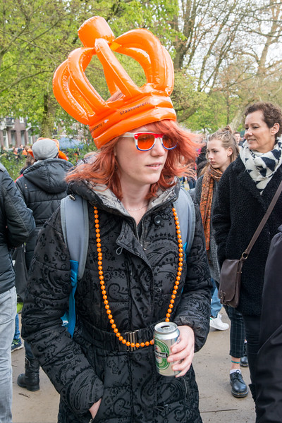 Orange ballon crown on King's Day (formerly Queen's Day) celebrations in Amsterdam at Sarphatipark.<br /> <br /> King's Day 2016 - Koningsdag 2016 is the Dutch national holiday held on Wednesday 27 April 2016. Following the abdication of Queen Beatrix in 2013 and the inauguration of King Willem-Alexander.
