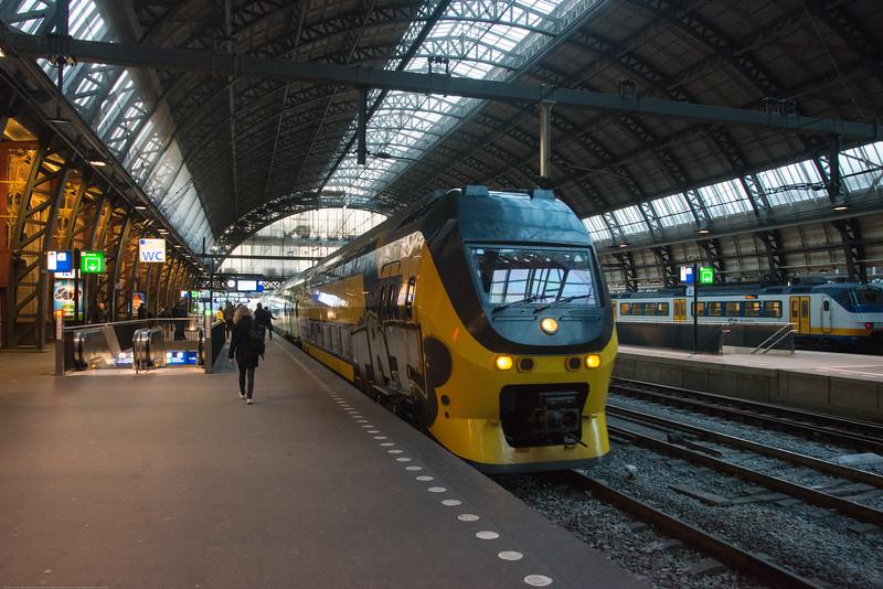 Platform inside Amsterdam Centraal train station. Amsterdam, Netherlands, Europe.