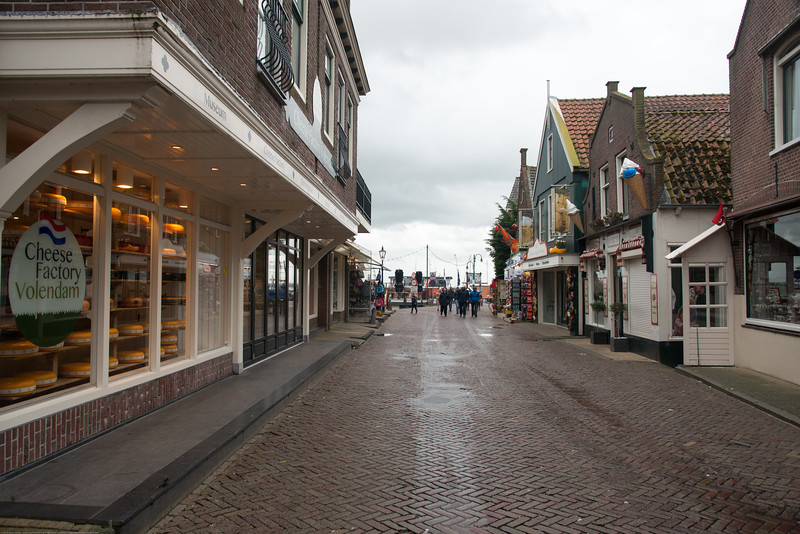 Water-front shops as well as restaurants including Cheese Factory at Volendam, Netherlands near Amsterdam.