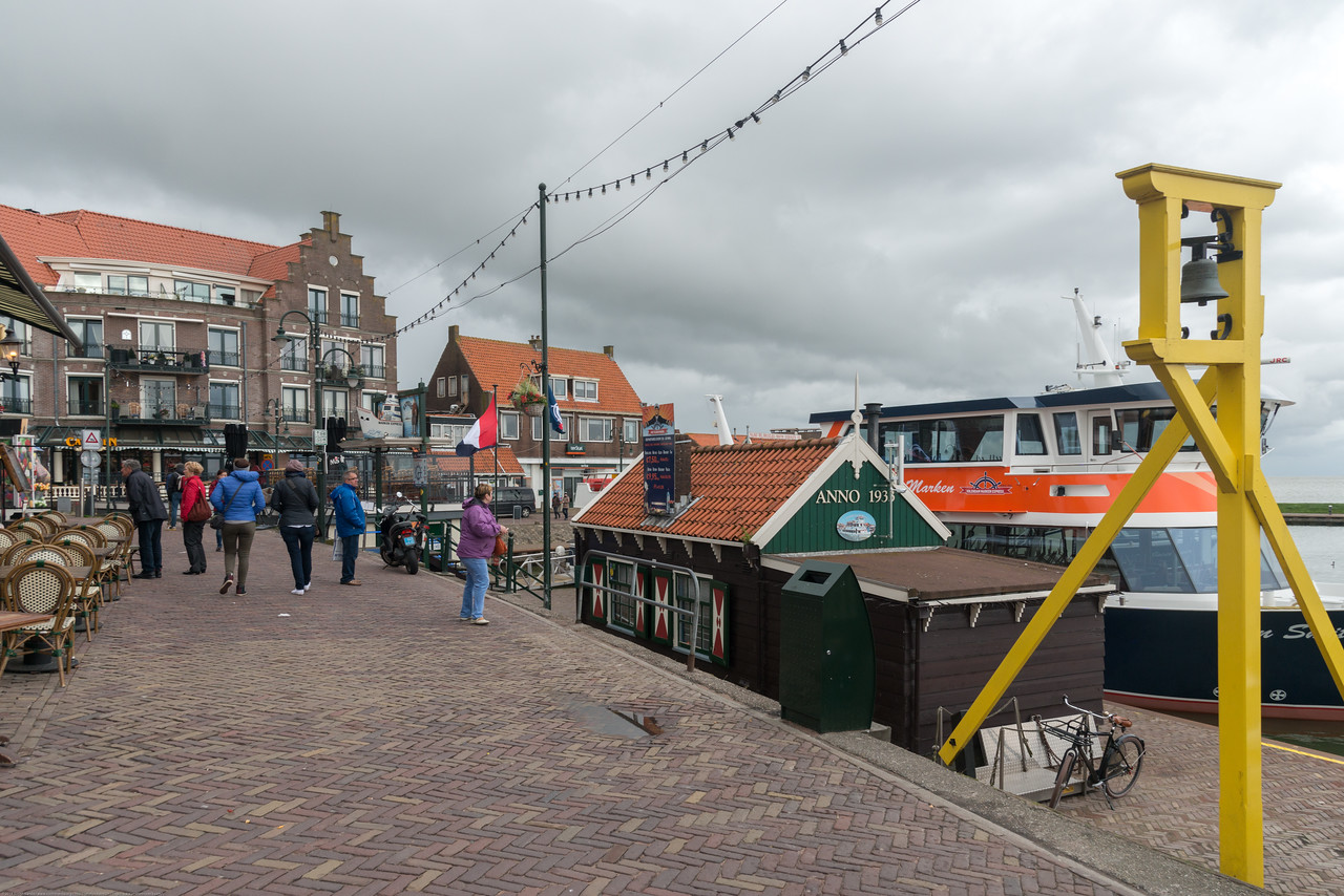 Shops and restaurants at waterfront walkway, Volendam, Netherlands near Amsterdam.