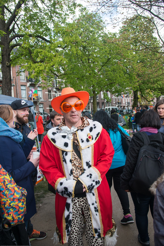 Orange hat and glasses on King's Day (formerly Queen's Day) celebrations in Amsterdam at Sarphatipark.<br /> <br /> King's Day 2016 - Koningsdag 2016 is the Dutch national holiday held on Wednesday 27 April 2016. Following the abdication of Queen Beatrix in 2013 and the inauguration of King Willem-Alexander.