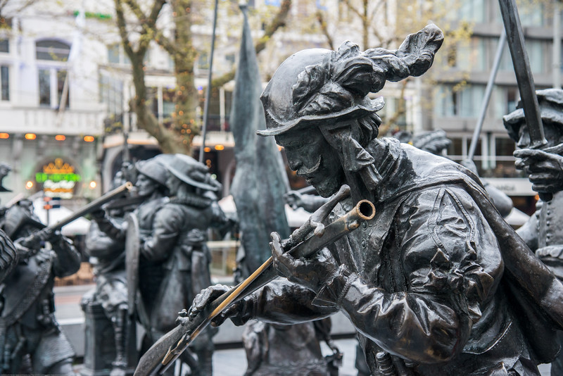 The sculptures of the Night Watch in 3D at the Rembrandtplein in Amsterdam in 2006-2009. As part of the celebration of the artist's 400th birthday in 2006, a bronze-cast representation of his most famous painting, The Night Watch, by Russian artists Mikhail Dronov and Alexander Taratynov was displayed around the Royer work. This bronze-cast representation of the famous painting was on display for three-years.