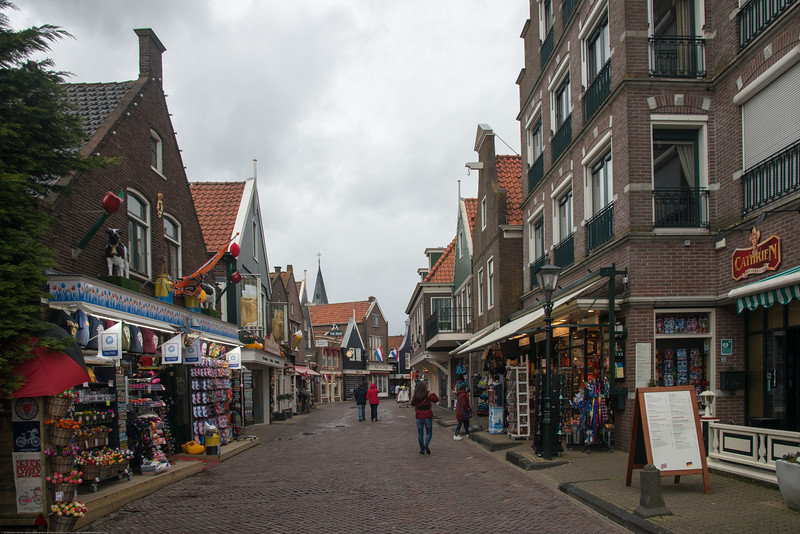 Waterfront shops and restaurants at Volendam, Netherlands near Amsterdam.