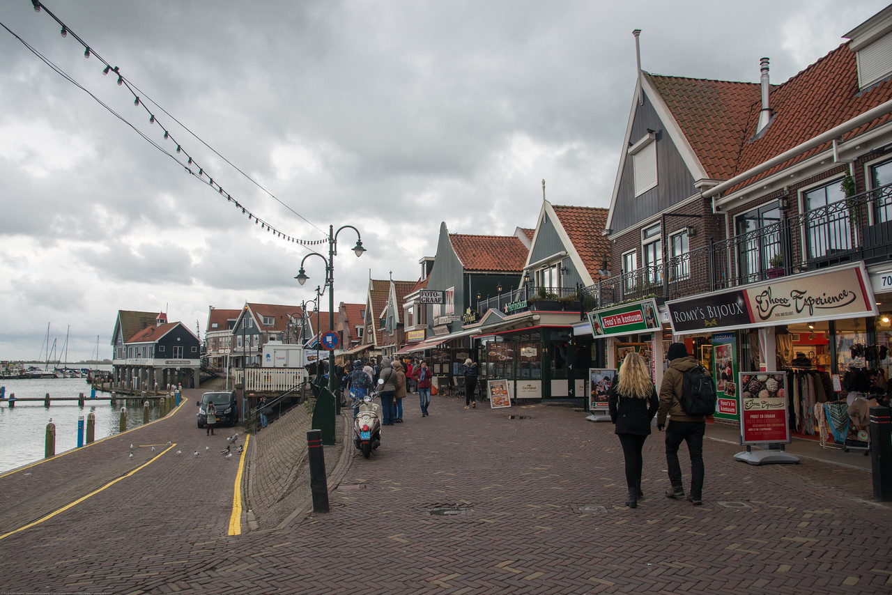 Volendam Marina where you board the Volendam-Marken Express. Shops and restaurants at waterfront, Volendam, Netherlands near Amsterdam.