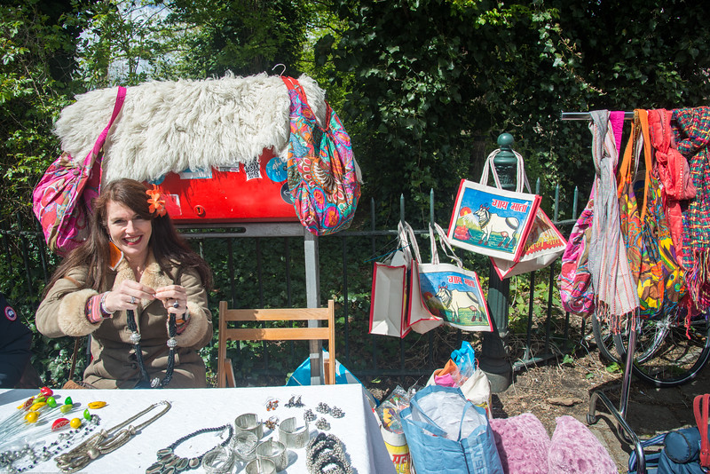 """""""Guy maata"""" bags and other Indian items on sale at the King's Day (formerly Queen's Day) in Amsterdam.<br /> <br /> King's Day 2016 - Koningsdag 2016 is the Dutch national holiday held on Wednesday 27 April 2016. Following the abdication of Queen Beatrix in 2013 and the inauguration of King Willem-Alexander, Queen's Day (30 April, the birthday of former Queen Juliana) has become King's Day (27 April, birthday of Willem-Alexander). One of the main highlights of King's Day is the citywide free market (vrijmarkt). This is where people set up stalls and sell clothes, food, drinks and just about anything else - from plants, old electronics, vintage items, bric-a-brac and a load of old tat. Prices are negotiable which is all part of the fun. Many Amsterdam residents set up shop directly outside their own houses - days before they mark their territory with tape (""""bezet"""" meaning """"occupied""""). There are also professional traders and opportunists who take advantage of the tax-free trading."""