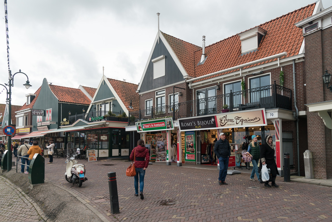 Restaurants and shops at waterfront, Volendam, Netherlands near Amsterdam.