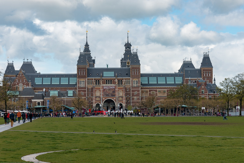 Rijksmuseum: 19th-century building housing Dutch Golden Age painting masterpieces & vast European art collection. Amsterdam, the Netherlands, Europe.