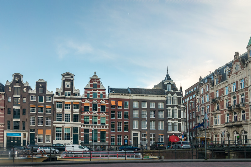 Typical Dutch houses seen in Amsterdam, Muntplein, Netherlands, Europe.