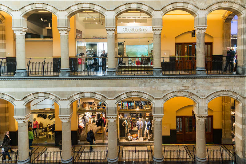Shopping Centre Magna Plaza. Mango Magna Plaza, Nieuwezijds Voorburgwal, Amsterdam, Netherlands. Fashion chain selling upscale womenswear & accessories (some carry men's apparel).