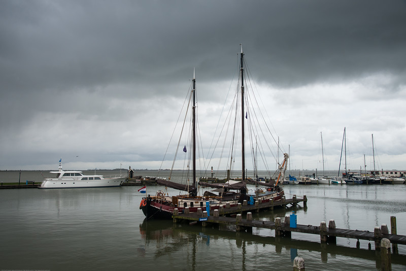 Boats at the water front at Volendam, Netherlands near Amsterdam.
