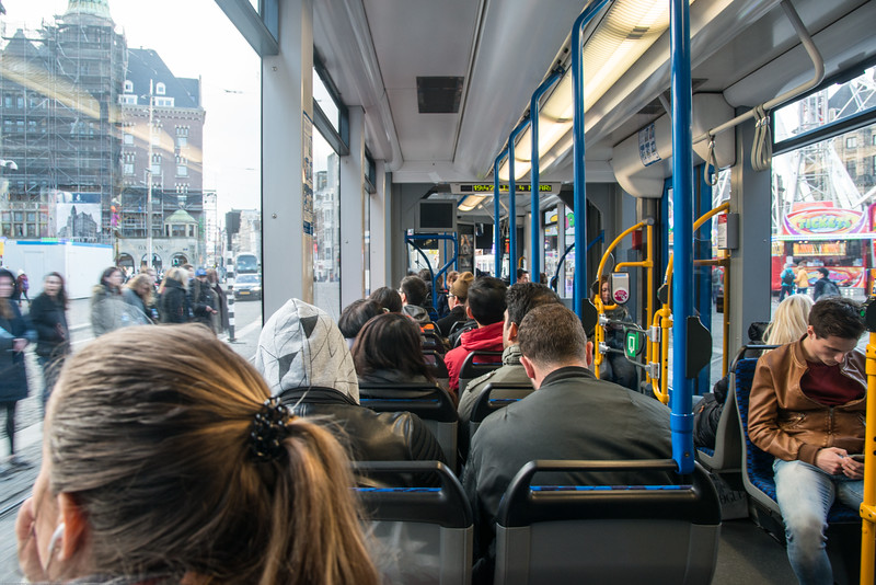 Public tram service. Ride in Amsterdam, Netherlands, Europe is comfortable and fun.