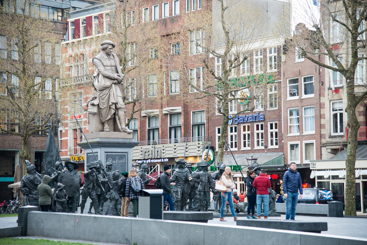 Rembrandtplein (Rembrandt Square) is a major square in central Amsterdam, the Netherlands, named after the famous painter Rembrandt van Rijn who owned a house nearby from 1639 to 1656. The sculptures of the Night Watch at the Rembrandtplein in Amsterdam. A bronze-cast representation of his most famous painting, The Night Watch, by Russian artists Mikhail Dronov and Alexander Taratynov was displayed around the Royer work. This bronze-cast representation of the famous painting was on display for three-years.