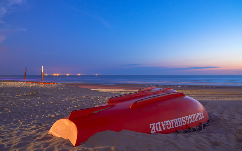 Rescue boat on a deserted late night beach