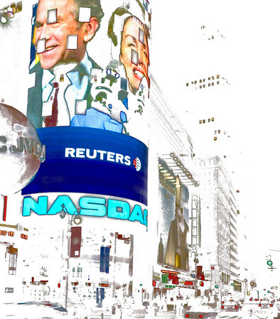 No Black, Times Square.  The Nasdaq building In Times Square with the  President and Speaker of the House.