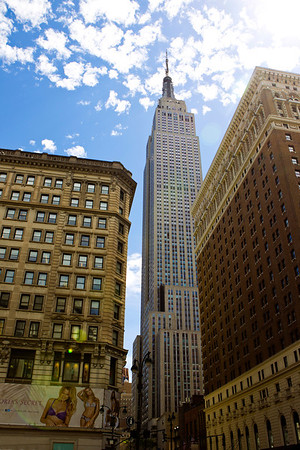 Empire State Building...at the intersection of Fifth Avenue and West 34th Street. 1,250 feet up and with its antenna spire included, it stands a total of 1,454 ft high
