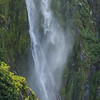 Detail of a portion of a waterfall in Milford Sound, New Zealand