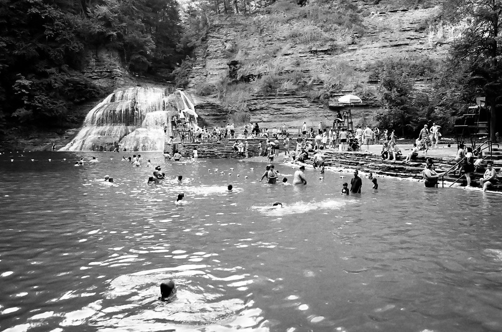 The pool at Robert Treman State Park, outside of Ithaca, NY. Aug 2015, Tri-X and HP5 B&W film.