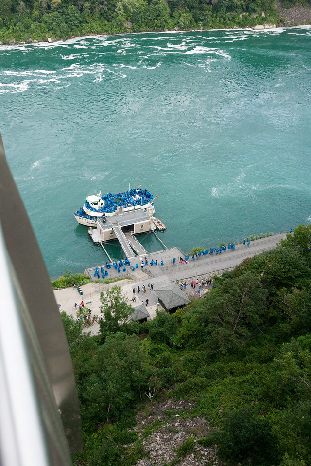 Looking towards the Maid of the Mist before boarding. August 2015, Digital.