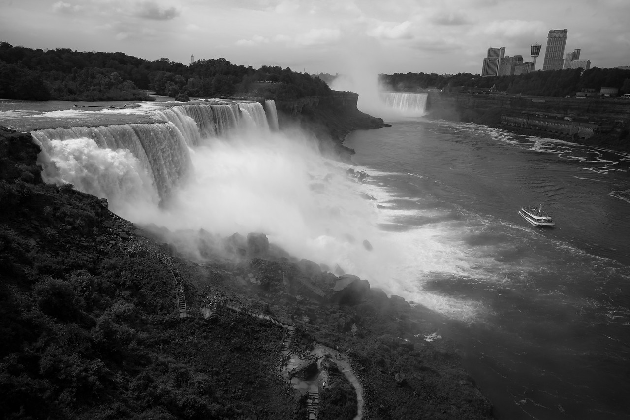B&W conversion looking towards the falls from the Maid of the Mist overlook. August 2015, Digital.