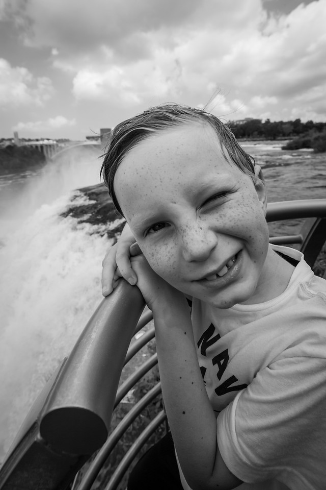 B&W conversion next to the American Falls. August 2015, Digital.