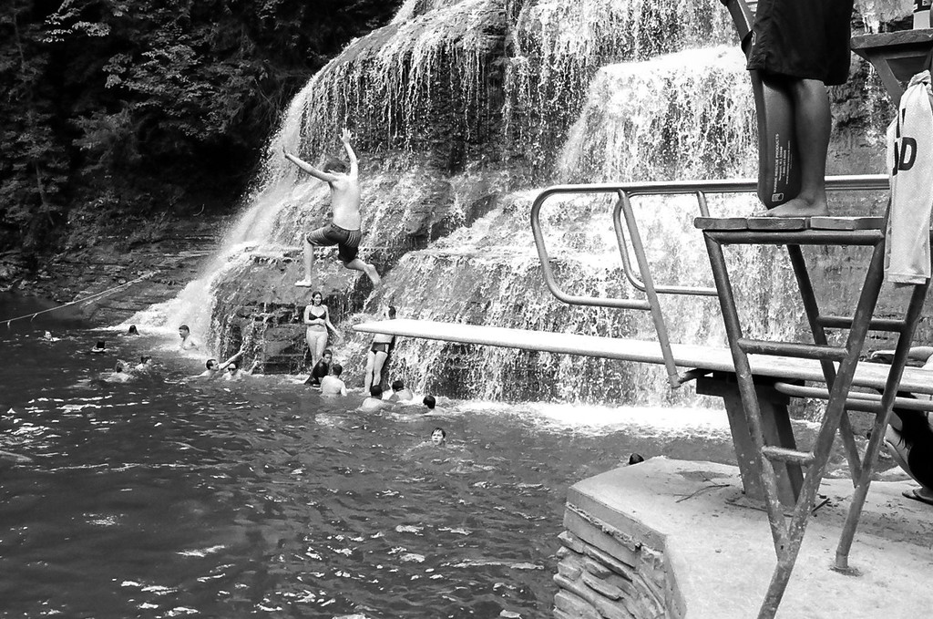 Kyle jumping off the diving board. Water was 16 feet deep! Aug 2015, Tri-X and HP5 B&W film.