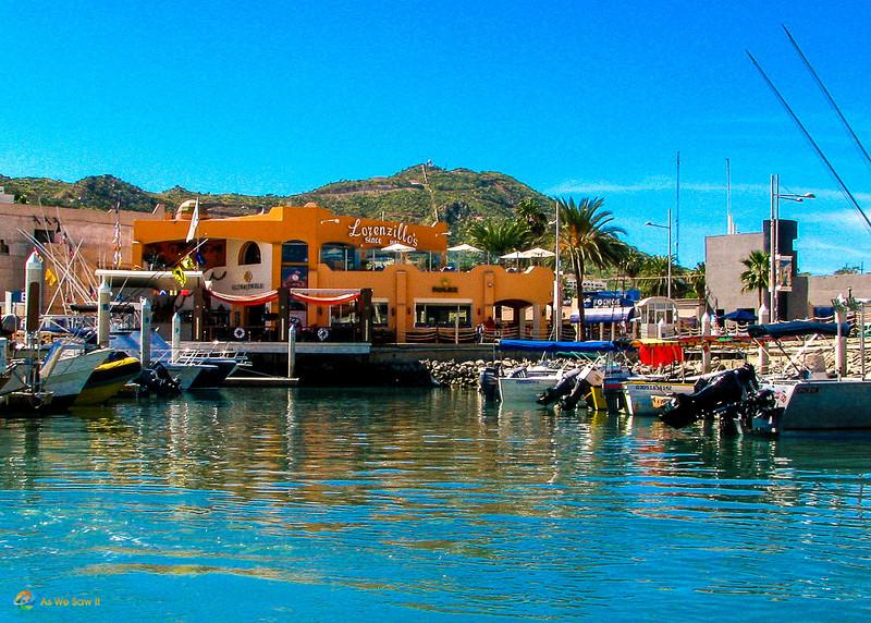 Marina waterfront with Lorenzillo's bay side restaurant