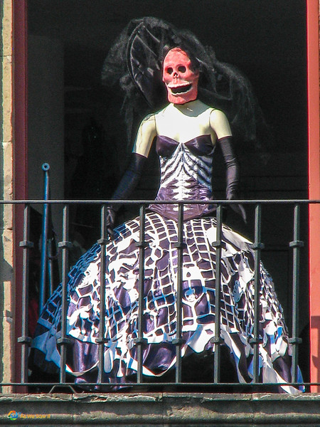 Skeleton dressed up for the Day of the Dead in Mexico City