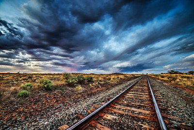 Train tracks on the high plains