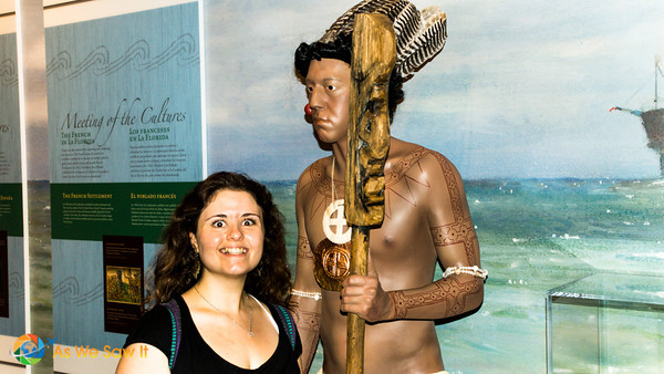 Myka and a Seminole chief eyeing each other over.